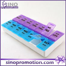 Custom Decorative Medication Plastic Monthly Slide Pill Box